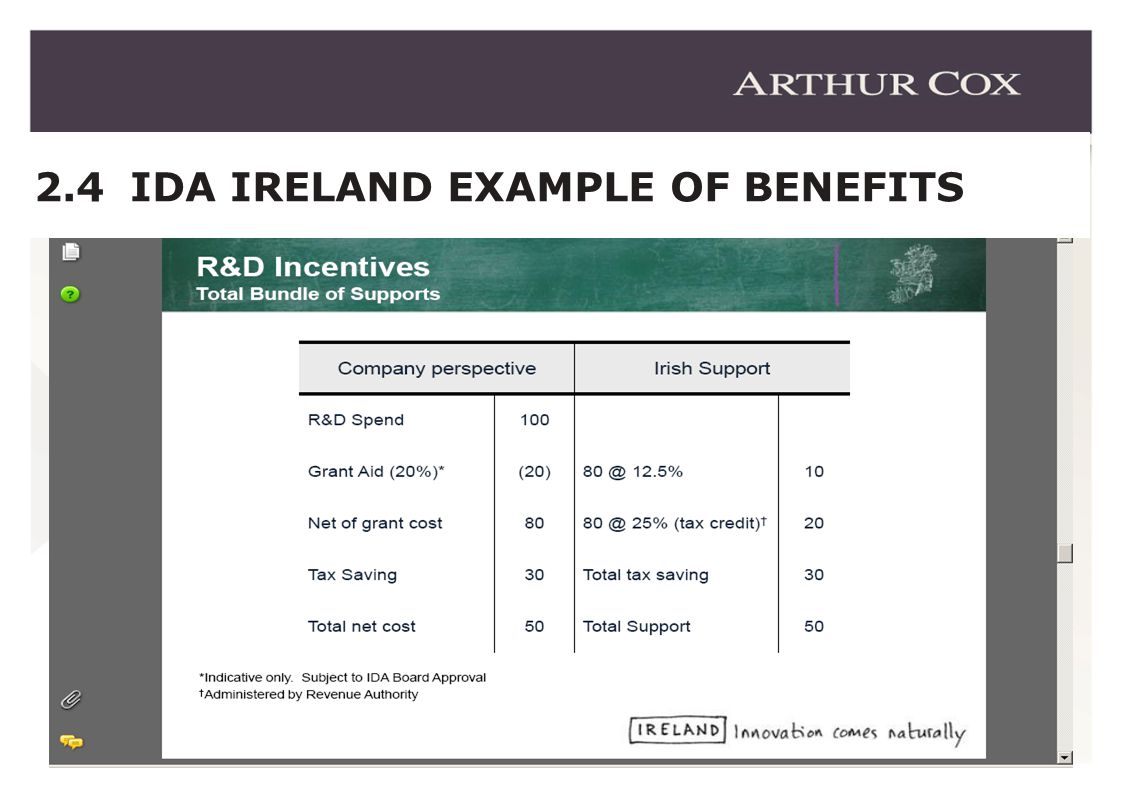 9 2.4 IDA IRELAND EXAMPLE OF BENEFITS