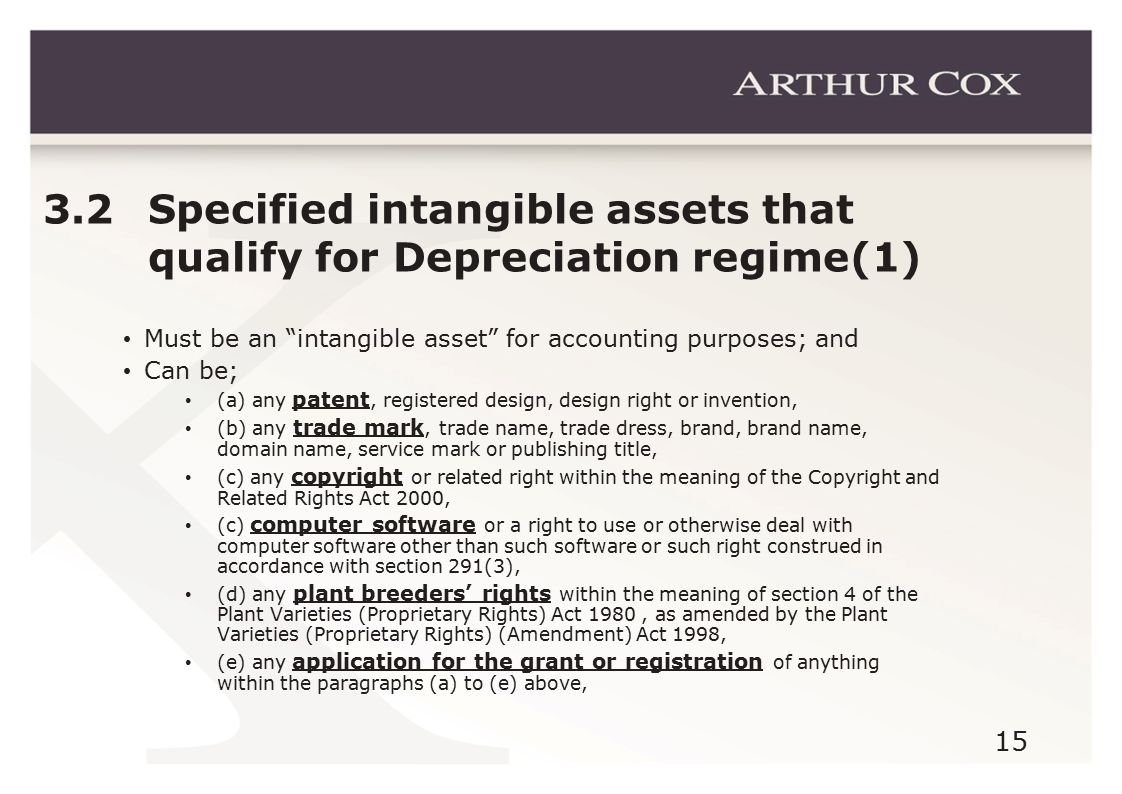15 3.2 Specified intangible assets that qualify for Depreciation regime(1) Must be an intangible asset for accounting purposes; and Can be; (a) any patent, registered design, design right or invention, (b) any trade mark, trade name, trade dress, brand, brand name, domain name, service mark or publishing title, (c) any copyright or related right within the meaning of the Copyright and Related Rights Act 2000, (c) computer software or a right to use or otherwise deal with computer software other than such software or such right construed in accordance with section 291(3), (d) any plant breeders' rights within the meaning of section 4 of the Plant Varieties (Proprietary Rights) Act 1980, as amended by the Plant Varieties (Proprietary Rights) (Amendment) Act 1998, (e) any application for the grant or registration of anything within the paragraphs (a) to (e) above,