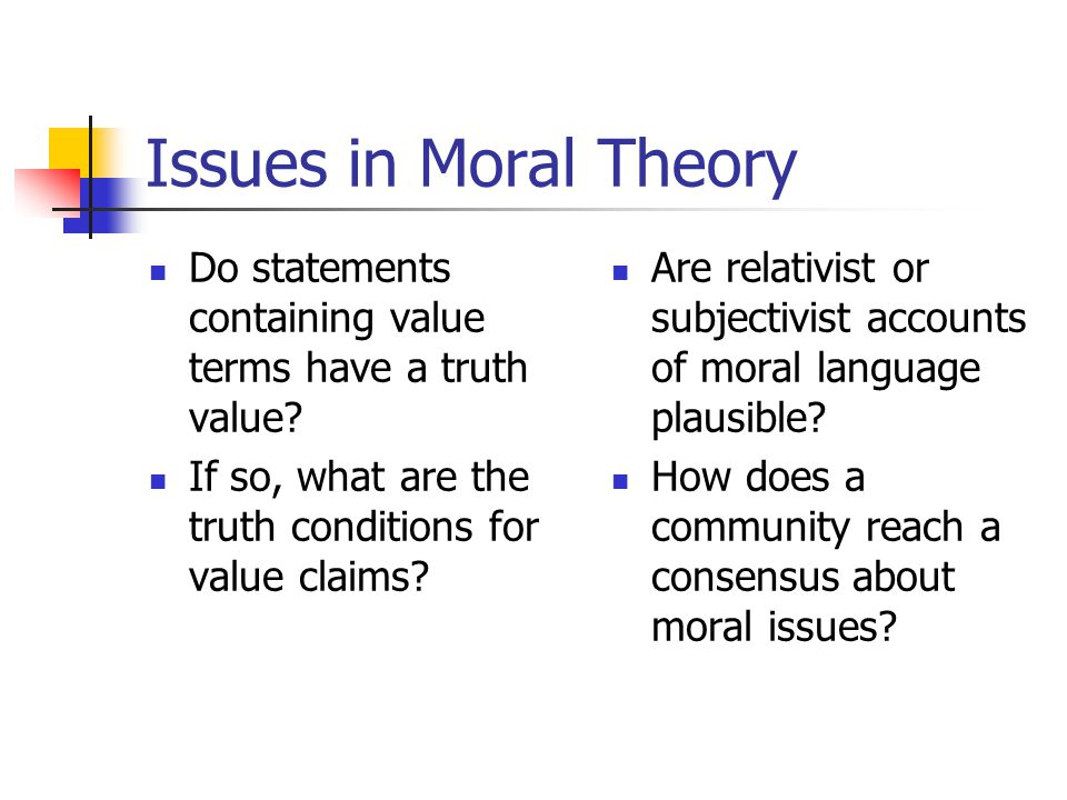 Issues in Moral Theory Do statements containing value terms have a truth value.