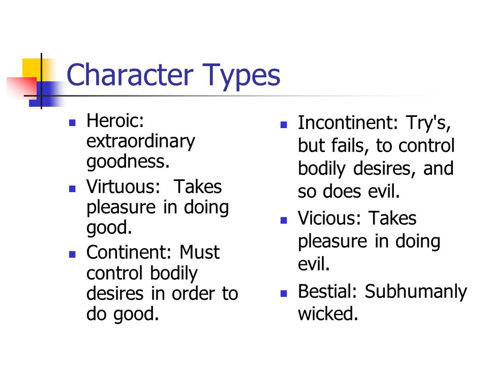 Character Types Heroic: extraordinary goodness. Virtuous: Takes pleasure in doing good.