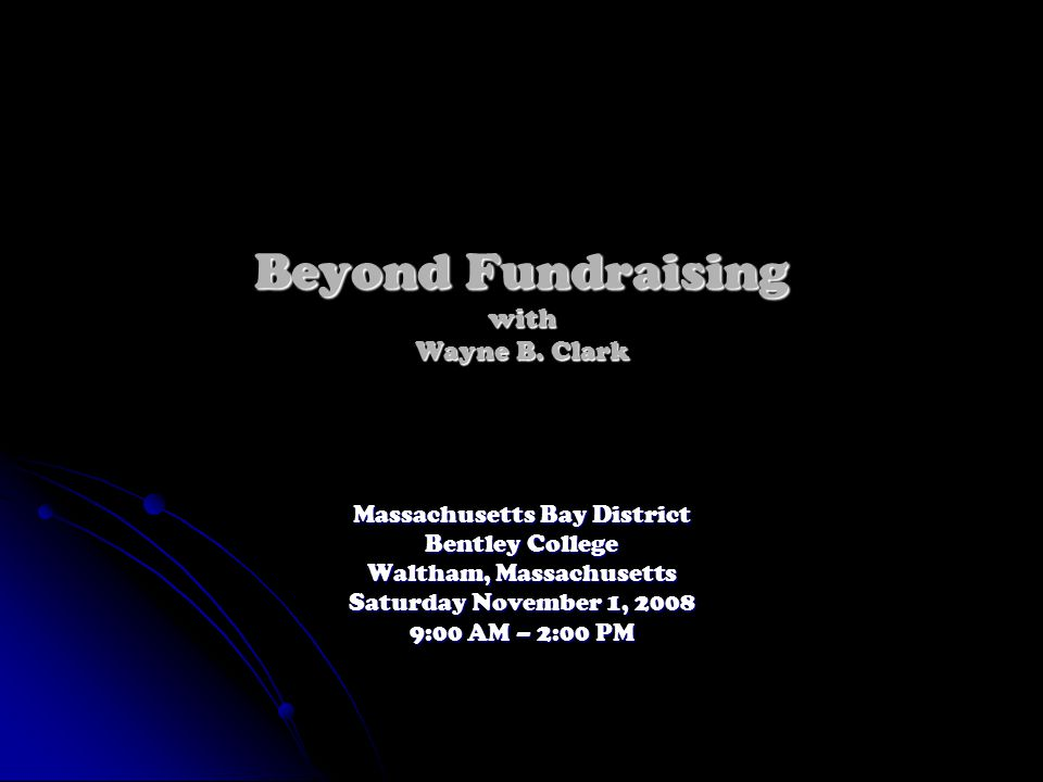 Beyond Fundraising with Wayne B.