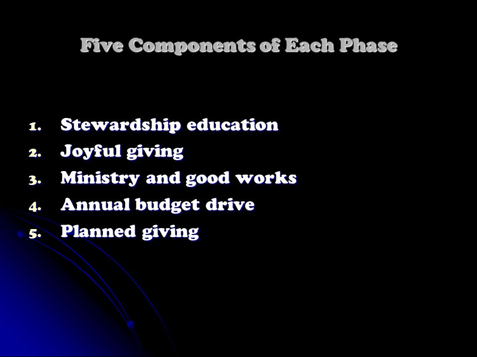 Five Components of Each Phase 1. Stewardship education 2. Joyful giving 3. Ministry and good works 4. Annual budget drive 5. Planned giving