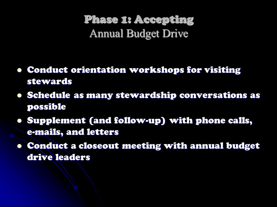 Phase 1: Accepting Annual Budget Drive Conduct orientation workshops for visiting stewards Conduct orientation workshops for visiting stewards Schedul