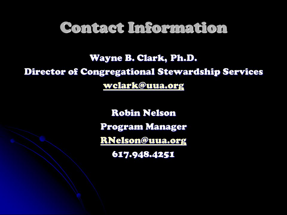 Contact Information Wayne B. Clark, Ph.D.