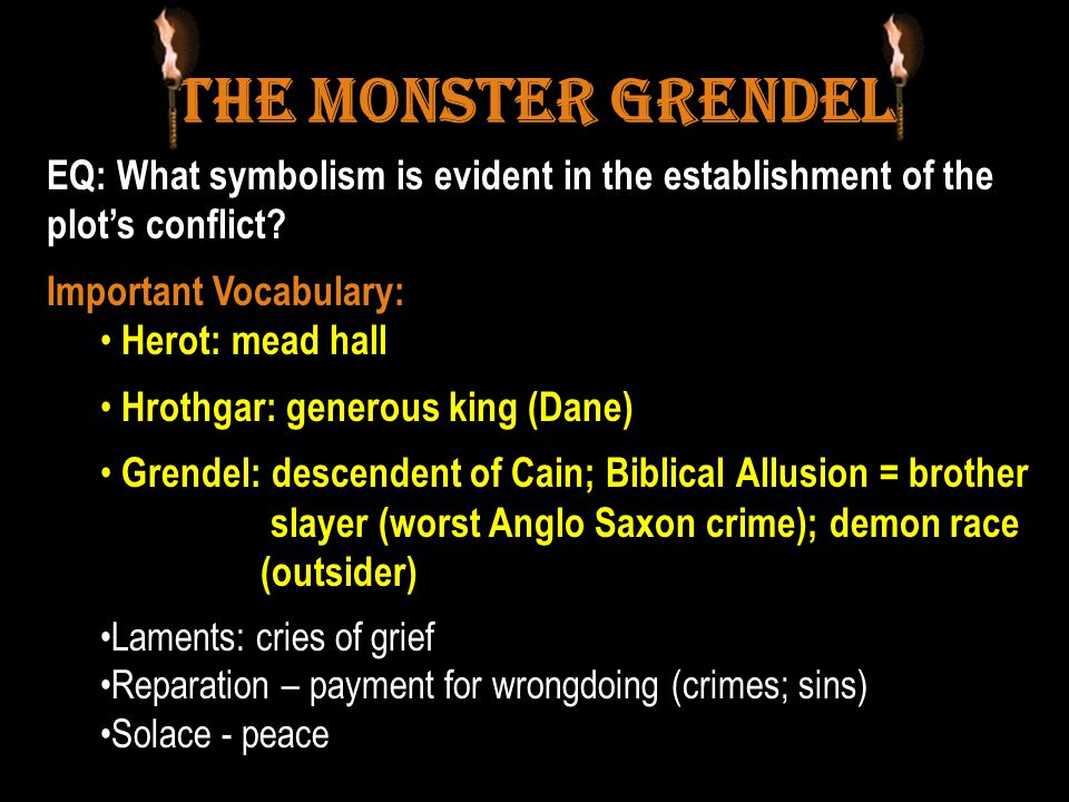 The Monster Grendel EQ: What symbolism is evident in the establishment of the plot's conflict.