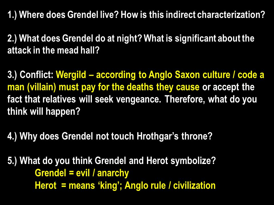 1.) Where does Grendel live.How is this indirect characterization.