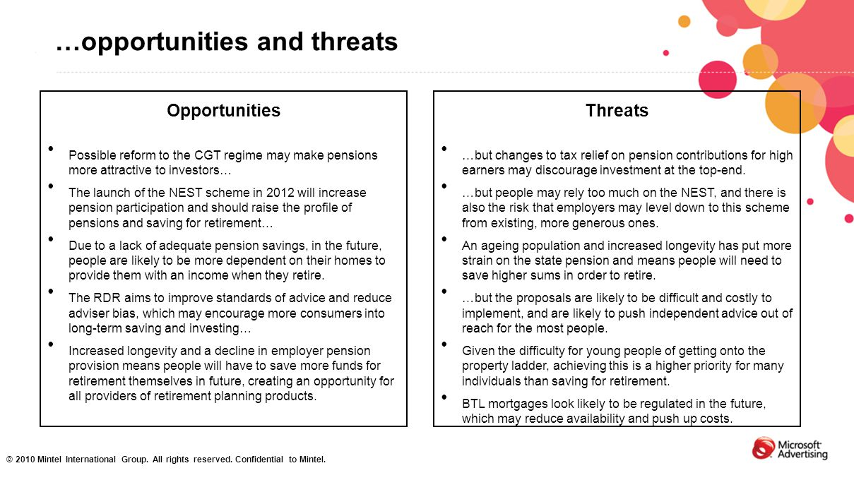 …opportunities and threats Opportunities Possible reform to the CGT regime may make pensions more attractive to investors… The launch of the NEST sche