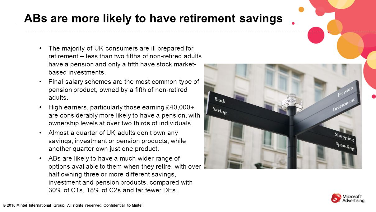 ABs are more likely to have retirement savings The majority of UK consumers are ill prepared for retirement – less than two fifths of non-retired adul