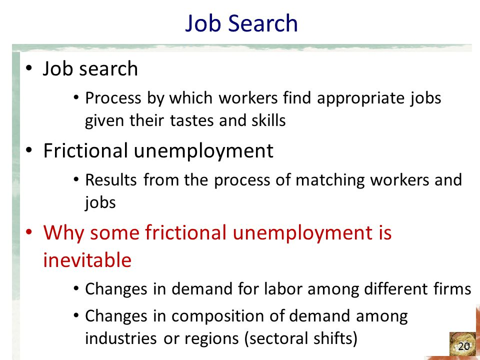 Job Search Job search Process by which workers find appropriate jobs given their tastes and skills Frictional unemployment Results from the process of matching workers and jobs Why some frictional unemployment is inevitable Changes in demand for labor among different firms Changes in composition of demand among industries or regions (sectoral shifts) 20