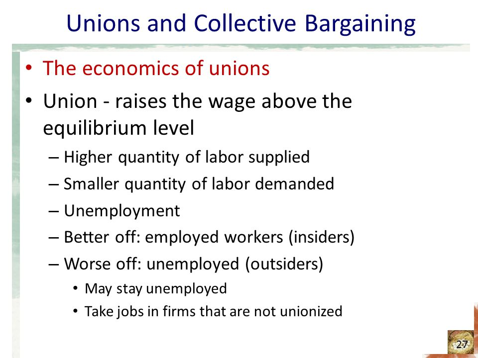 Unions and Collective Bargaining The economics of unions Union - raises the wage above the equilibrium level – Higher quantity of labor supplied – Smaller quantity of labor demanded – Unemployment – Better off: employed workers (insiders) – Worse off: unemployed (outsiders) May stay unemployed Take jobs in firms that are not unionized 27