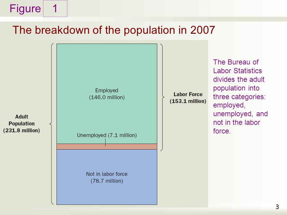 Figure The breakdown of the population in 2007 1 3 The Bureau of Labor Statistics divides the adult population into three categories: employed, unemployed, and not in the labor force.