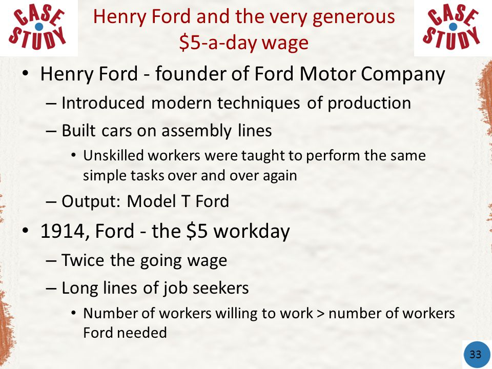 Henry Ford - founder of Ford Motor Company – Introduced modern techniques of production – Built cars on assembly lines Unskilled workers were taught to perform the same simple tasks over and over again – Output: Model T Ford 1914, Ford - the $5 workday – Twice the going wage – Long lines of job seekers Number of workers willing to work > number of workers Ford needed Henry Ford and the very generous $5-a-day wage 33