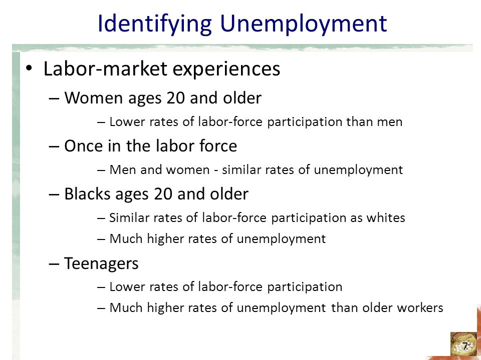 Identifying Unemployment Labor-market experiences – Women ages 20 and older – Lower rates of labor-force participation than men – Once in the labor force – Men and women - similar rates of unemployment – Blacks ages 20 and older – Similar rates of labor-force participation as whites – Much higher rates of unemployment – Teenagers – Lower rates of labor-force participation – Much higher rates of unemployment than older workers 7