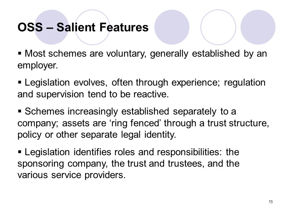 15 OSS – Salient Features  Most schemes are voluntary, generally established by an employer.