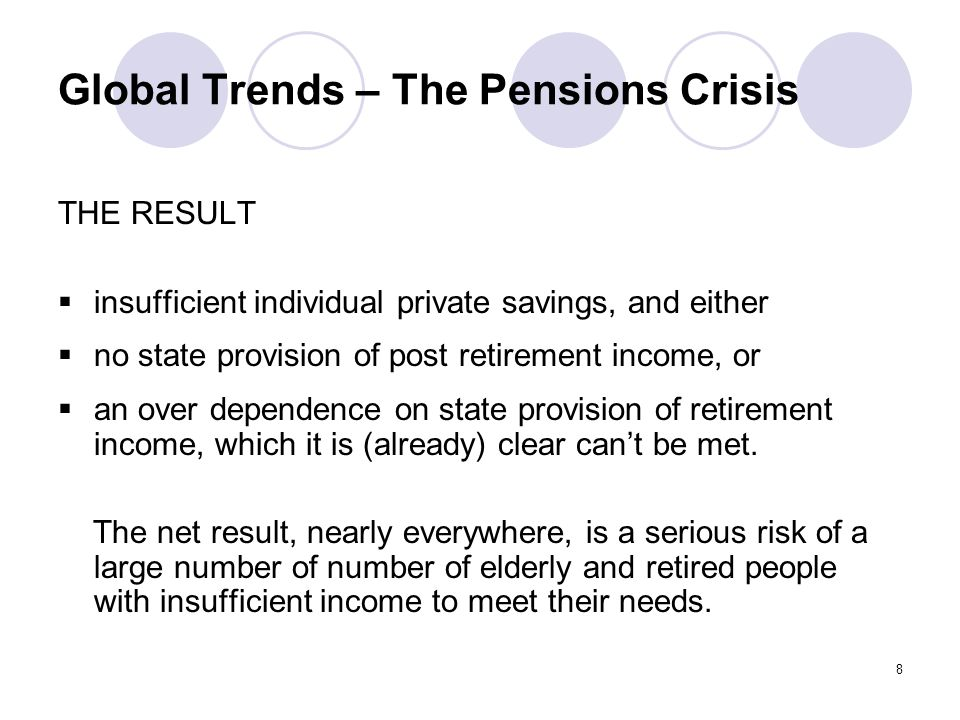 8 Global Trends – The Pensions Crisis THE RESULT  insufficient individual private savings, and either  no state provision of post retirement income, or  an over dependence on state provision of retirement income, which it is (already) clear can't be met.