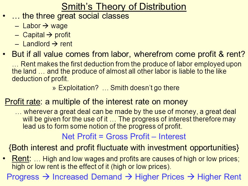 Smith's Theory of Distribution … the three great social classes –Labor  wage –Capital  profit –Landlord  rent But if all value comes from labor, wherefrom come profit & rent.