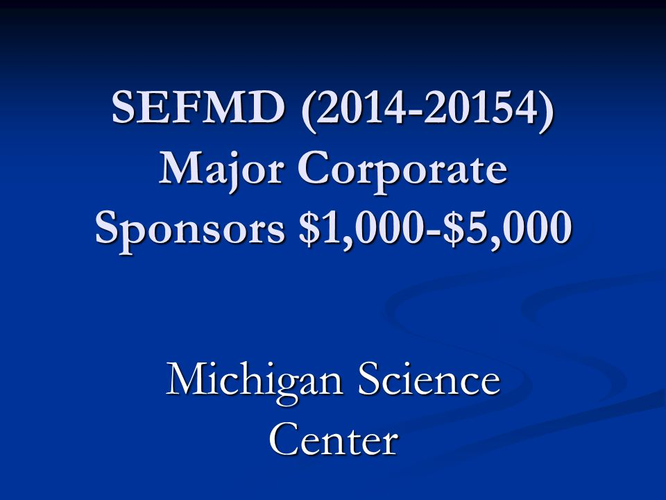 SEFMD (2014-2015) Major Corporate Sponsors $1,000-$5,000 Air and Waste Management Association