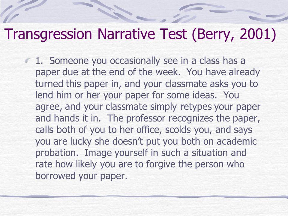 Transgression Narrative Test (Berry, 2001) 1.