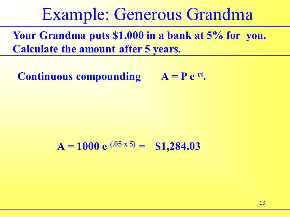 13 Example: Generous Grandma Your Grandma puts $1,000 in a bank at 5% for you.