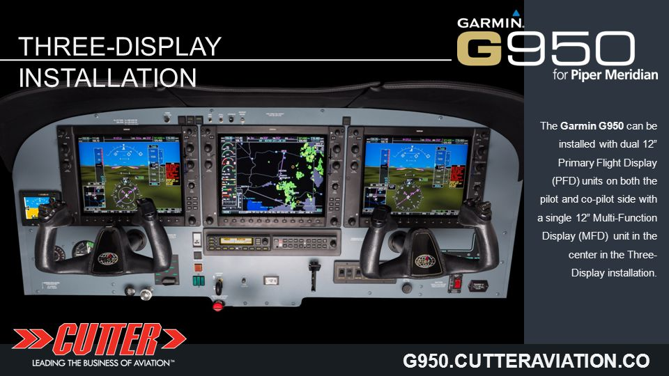 G950.CUTTERAVIATION.CO M THREE-DISPLAY INSTALLATION The Garmin G950 can be installed with dual 12 Primary Flight Display (PFD) units on both the pilot and co-pilot side with a single 12 Multi-Function Display (MFD) unit in the center in the Three- Display installation.