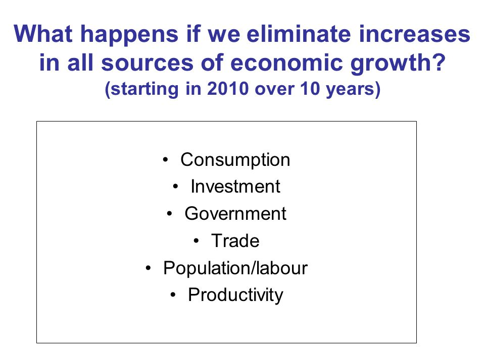 What happens if we eliminate increases in all sources of economic growth.