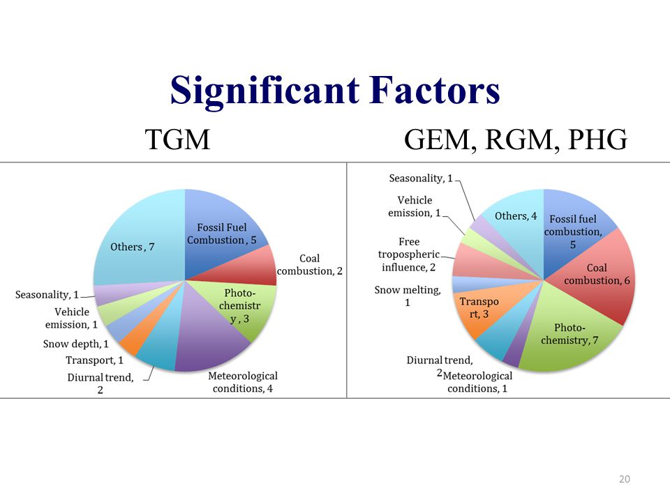 Significant Factors 20 TGM GEM, RGM, PHG
