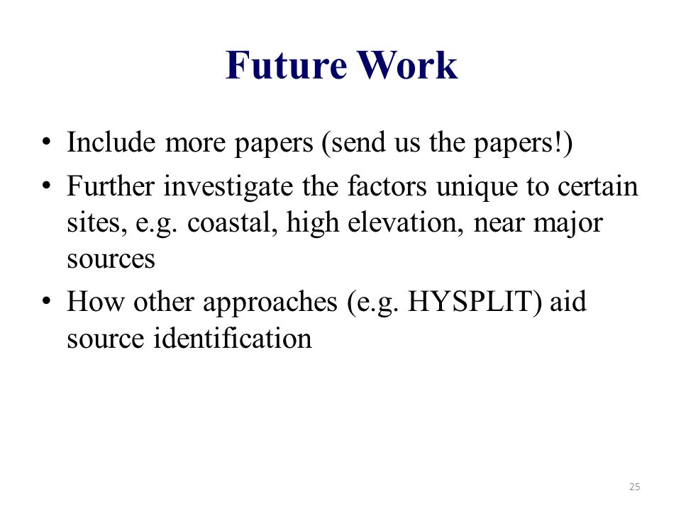Future Work Include more papers (send us the papers!) Further investigate the factors unique to certain sites, e.g.