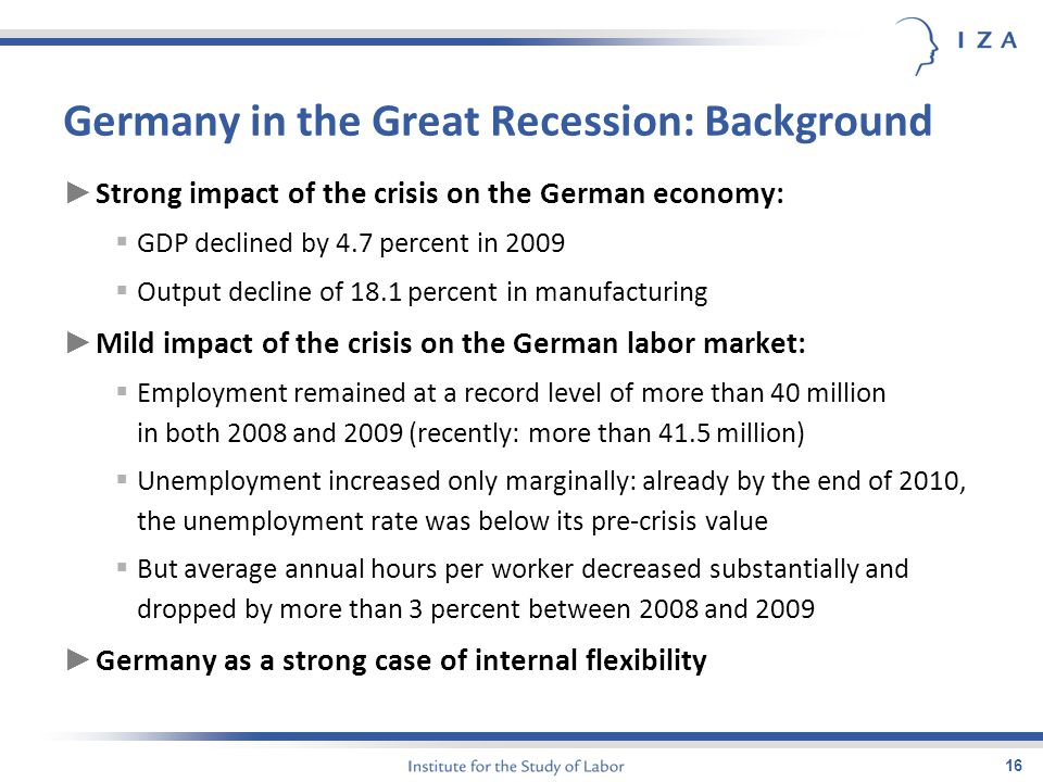 16 Germany in the Great Recession: Background ► Strong impact of the crisis on the German economy:  GDP declined by 4.7 percent in 2009  Output decline of 18.1 percent in manufacturing ► Mild impact of the crisis on the German labor market:  Employment remained at a record level of more than 40 million in both 2008 and 2009 (recently: more than 41.5 million)  Unemployment increased only marginally: already by the end of 2010, the unemployment rate was below its pre-crisis value  But average annual hours per worker decreased substantially and dropped by more than 3 percent between 2008 and 2009 ► Germany as a strong case of internal flexibility