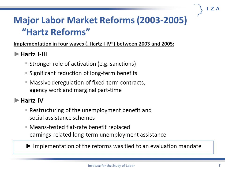 "7 Major Labor Market Reforms (2003-2005) ""Hartz Reforms"" Implementation in four waves (""Hartz I-IV"") between 2003 and 2005: ► Hartz I-III  Stronger r"