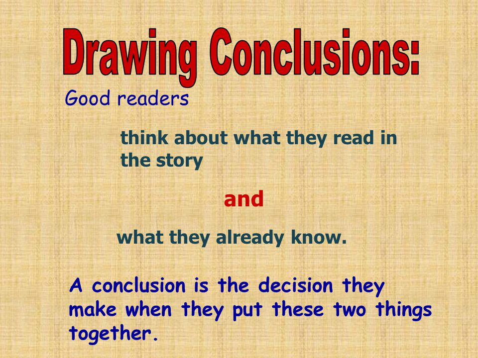 Good readers think about what they read in the story and what they already know.