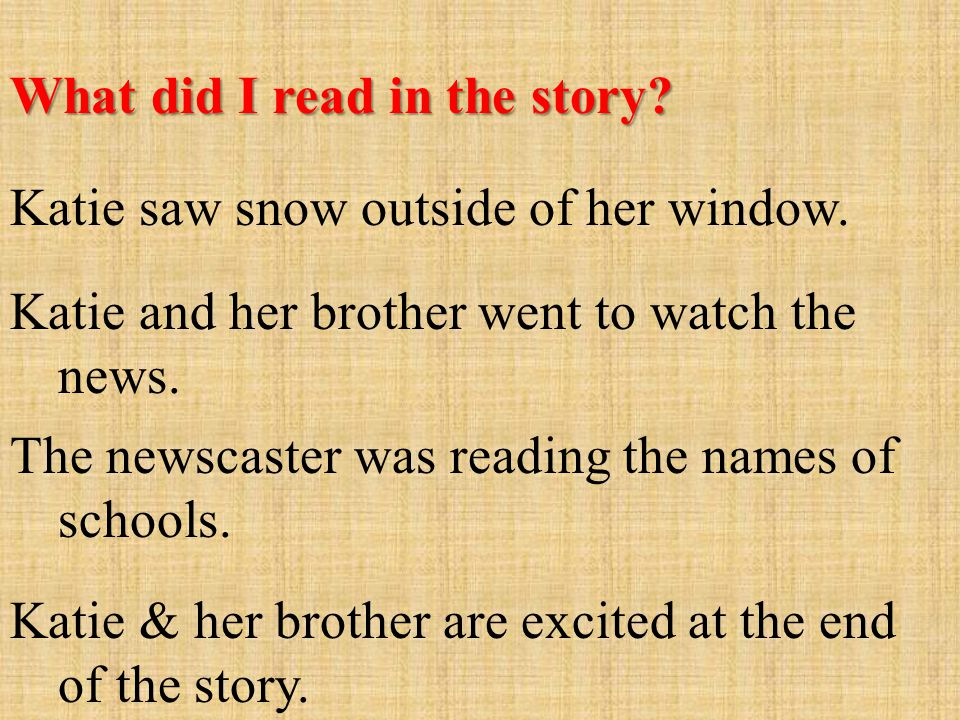 What did I read in the story.Katie saw snow outside of her window.