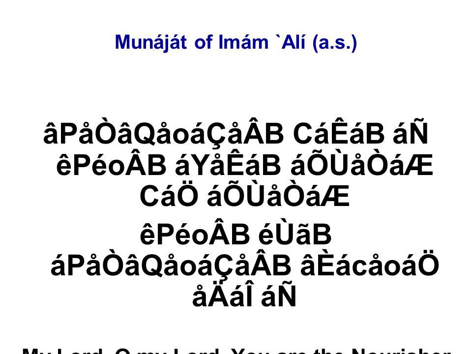 Munáját of Imám `Alí (a.s.) âPåÒâQåoáÇåÂB CáÊáB áÑ êPéoÂB áYåÊáB áÕÙåÒáÆ CáÖ áÕÙåÒáÆ êPéoÂB éÙãB áPåÒâQåoáÇåÂB âÈácåoáÖ åÄáÎ áÑ My Lord, O my Lord, You are the Nourisher and I am the nourished.