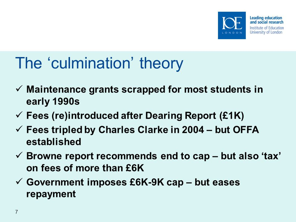 The 'culmination' theory Maintenance grants scrapped for most students in early 1990s Fees (re)introduced after Dearing Report (£1K) Fees tripled by C