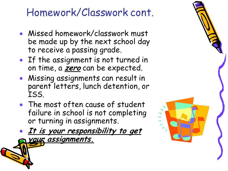 Homework/Classwork cont.