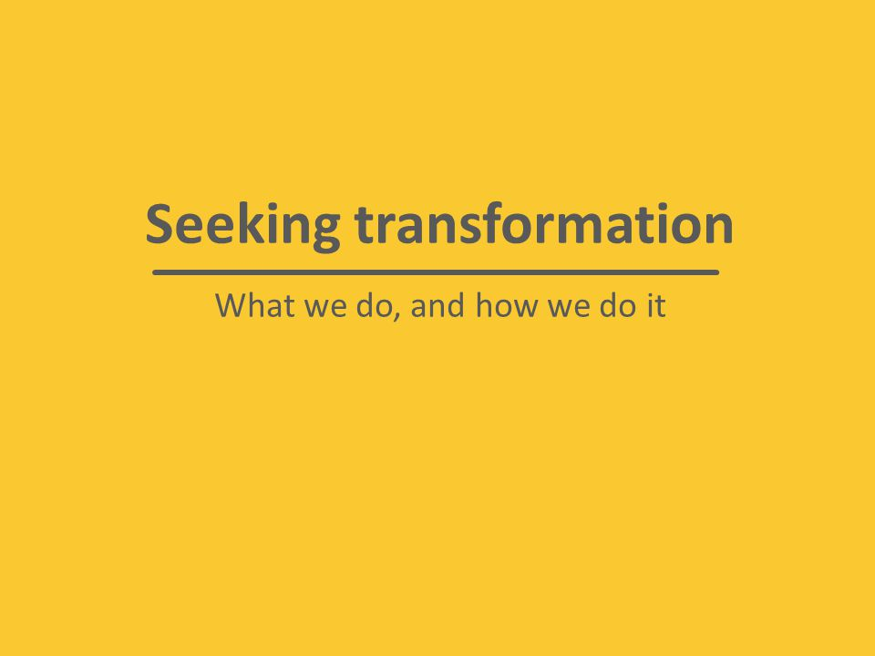 Seeking transformation What we do, and how we do it