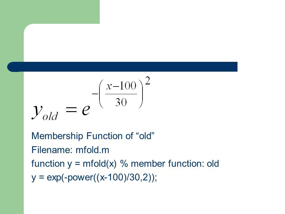 Membership Function of old Filename: mfold.m function y = mfold(x) % member function: old y = exp(-power((x-100)/30,2));