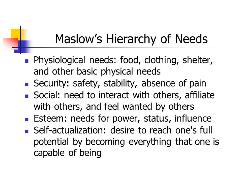 Maslow's Hierarchy of Needs Physiological needs: food, clothing, shelter, and other basic physical needs Security: safety, stability, absence of pain