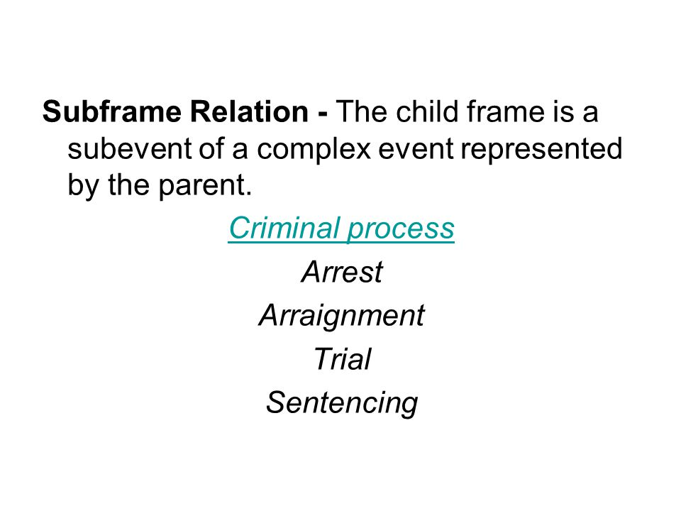 Subframe Relation - The child frame is a subevent of a complex event represented by the parent.