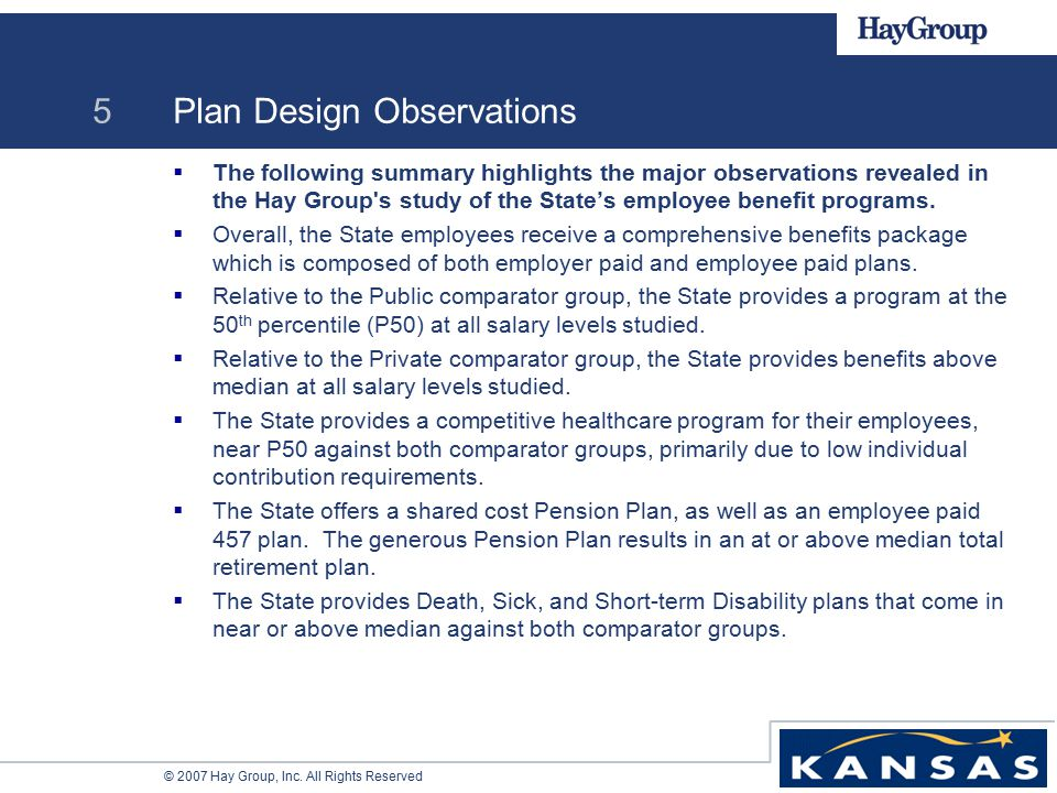 © 2007 Hay Group, Inc. All Rights Reserved 5 Plan Design Observations  The following summary highlights the major observations revealed in the Hay Gr
