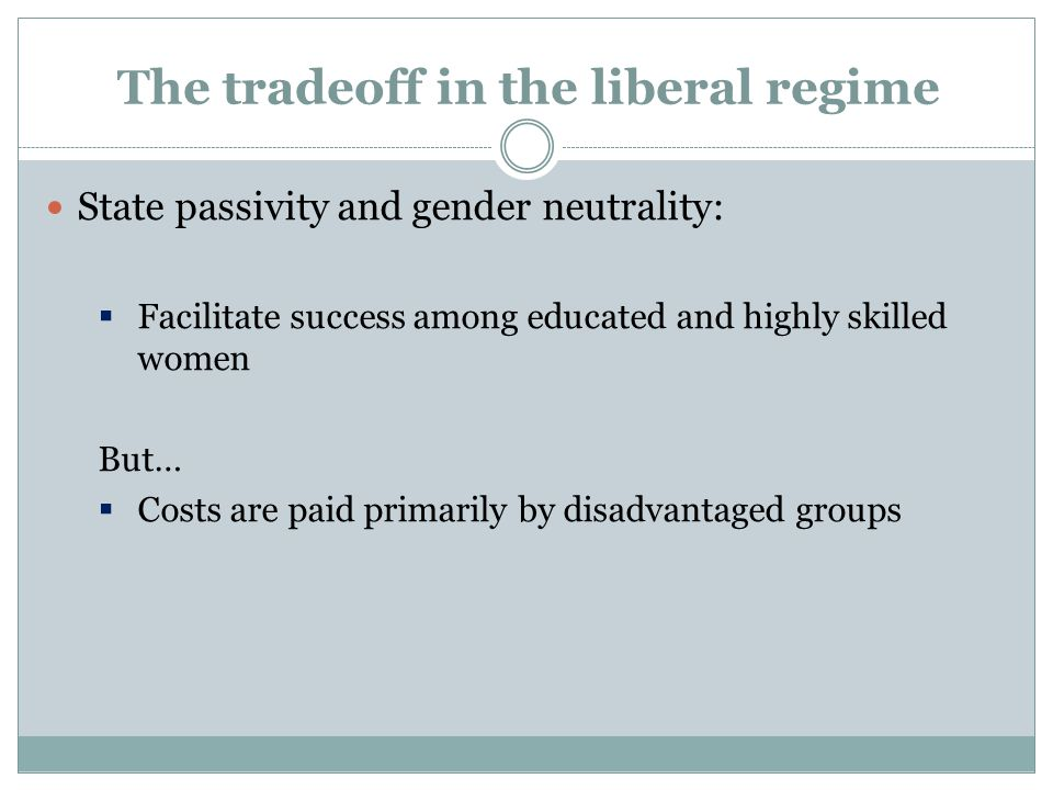 The tradeoff in the liberal regime State passivity and gender neutrality:  Facilitate success among educated and highly skilled women But…  Costs are paid primarily by disadvantaged groups