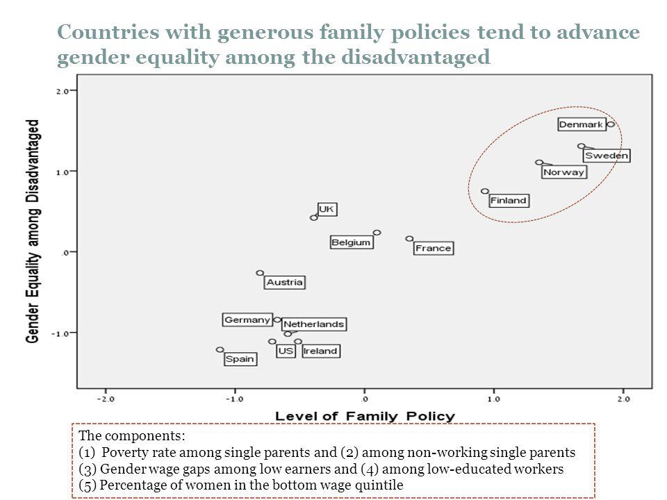 The components: (1) Poverty rate among single parents and (2) among non-working single parents (3) Gender wage gaps among low earners and (4) among lo
