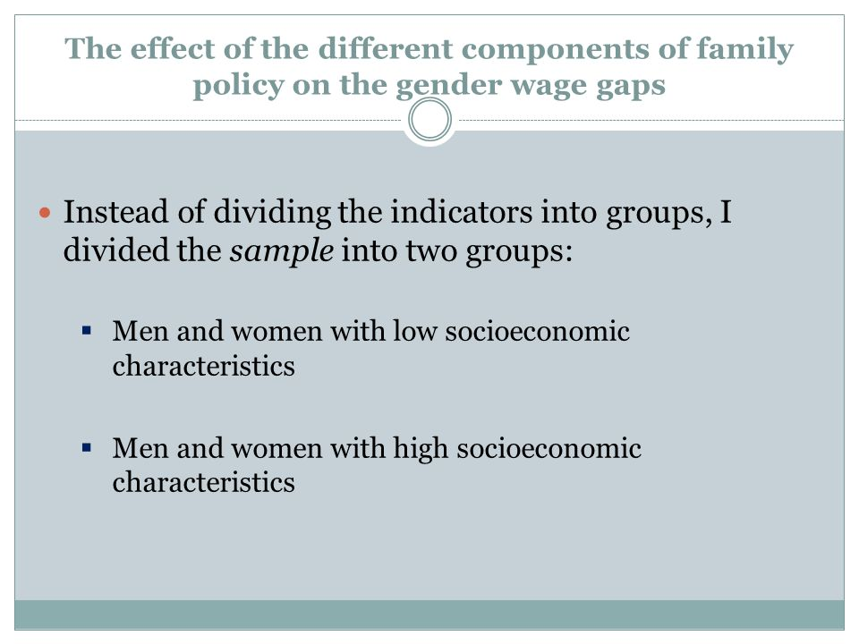 The effect of the different components of family policy on the gender wage gaps Instead of dividing the indicators into groups, I divided the sample i