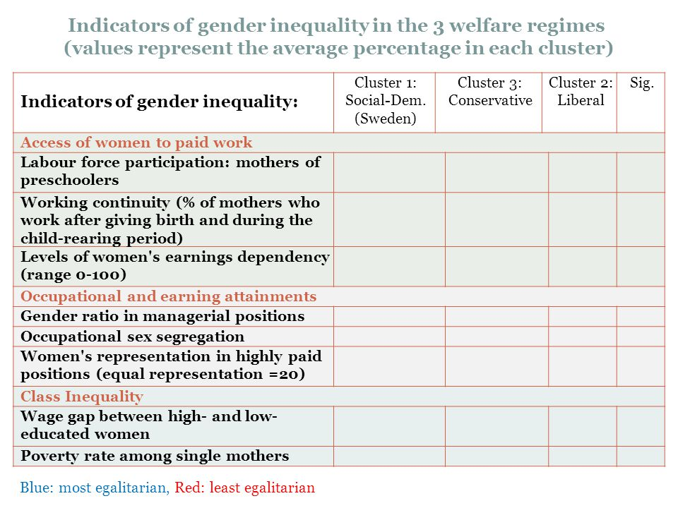 Indicators of gender inequality in the 3 welfare regimes (values represent the average percentage in each cluster) Indicators of gender inequality: Cl