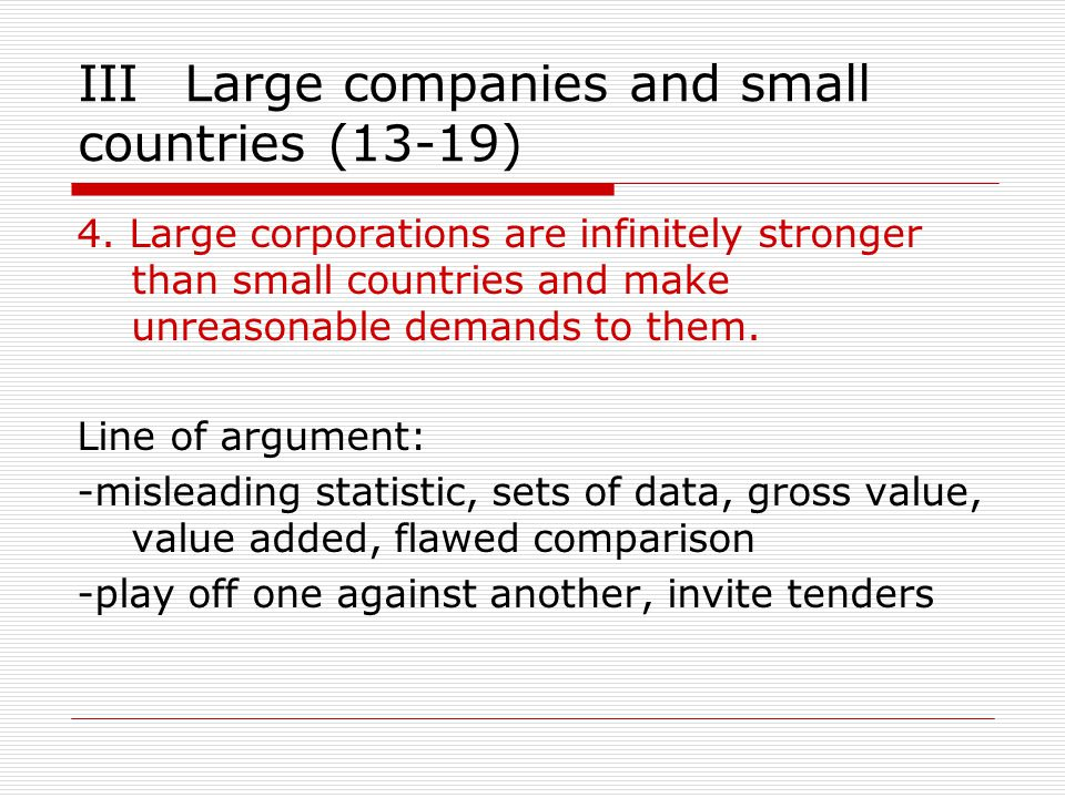 IIILarge companies and small countries (13-19) 4.