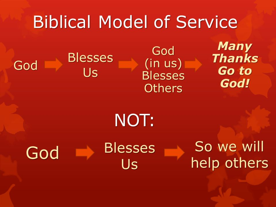 Biblical Model of Service Blesses Us God Many Thanks Go to God! NOT: God Blesses Us So we will help others God (in us) Blesses Others