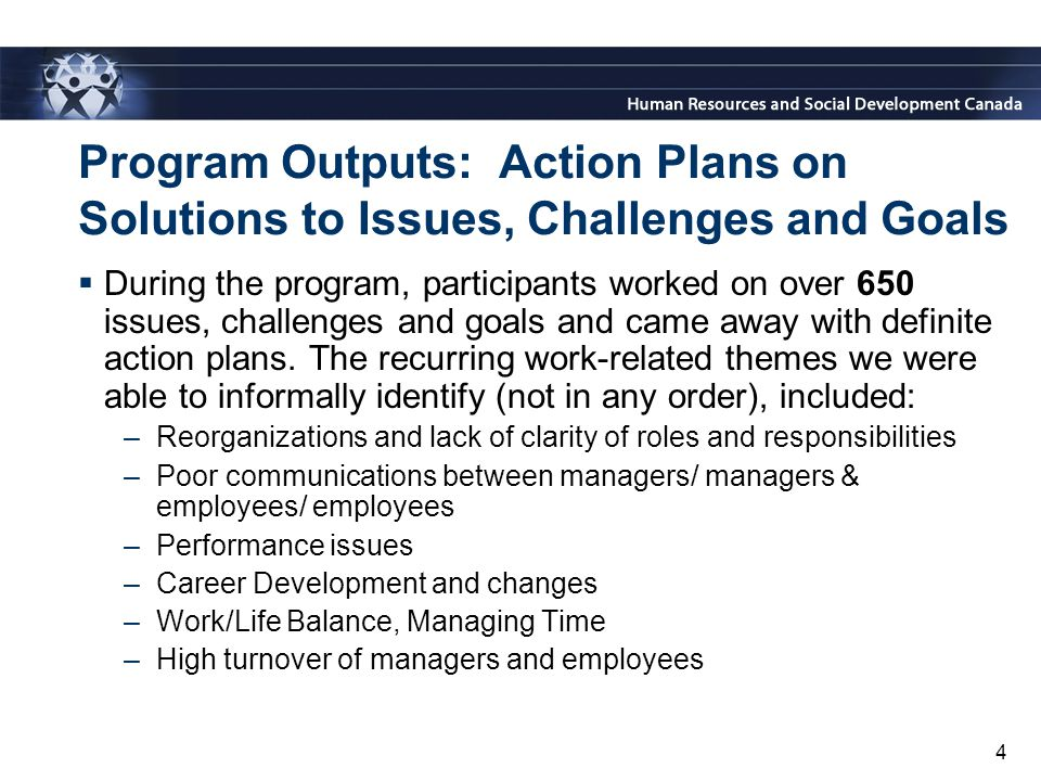 4 Program Outputs: Action Plans on Solutions to Issues, Challenges and Goals  During the program, participants worked on over 650 issues, challenges and goals and came away with definite action plans.