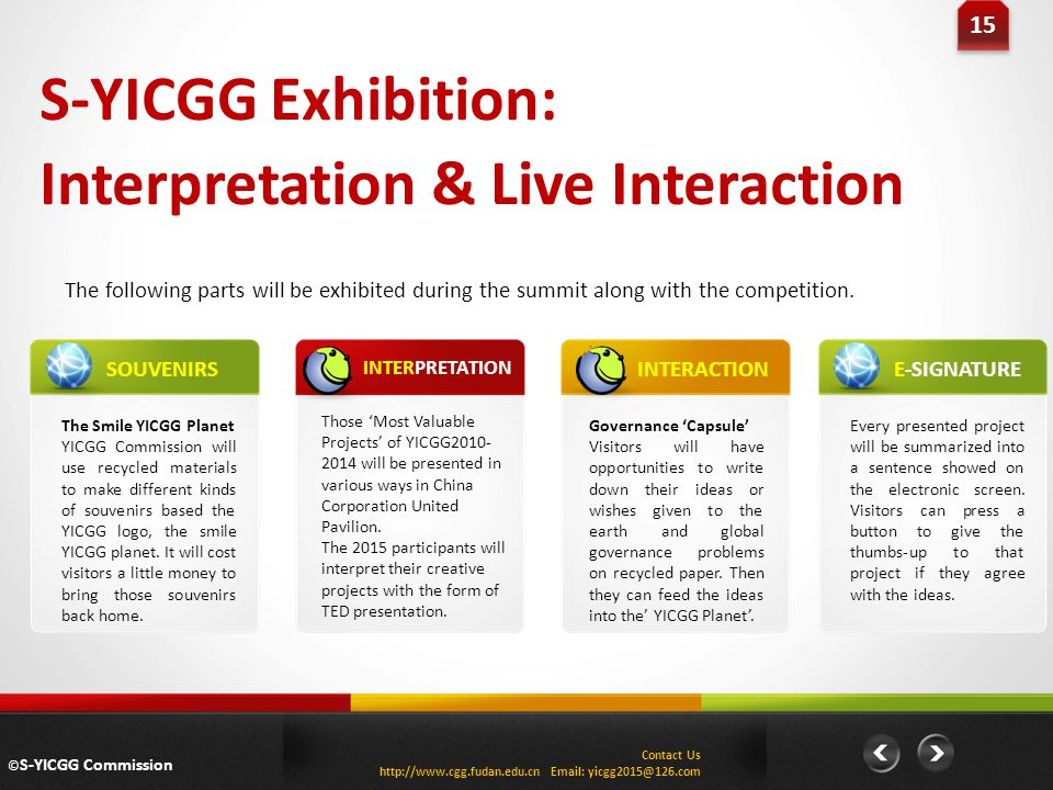 S-YICGG Exhibition: Interpretation & Live Interaction The following parts will be exhibited during the summit along with the competition.