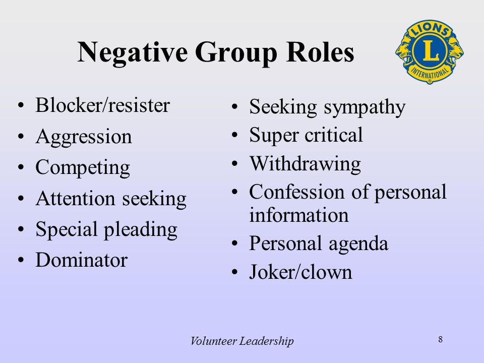 Volunteer Leadership 8 Negative Group Roles Blocker/resister Aggression Competing Attention seeking Special pleading Dominator Seeking sympathy Super critical Withdrawing Confession of personal information Personal agenda Joker/clown