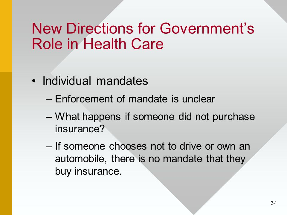 34 New Directions for Government's Role in Health Care Individual mandates –Enforcement of mandate is unclear –What happens if someone did not purchas