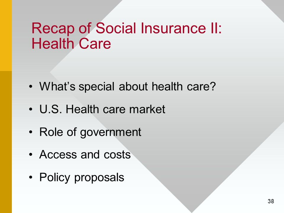 38 Recap of Social Insurance II: Health Care What's special about health care? U.S. Health care market Role of government Access and costs Policy prop